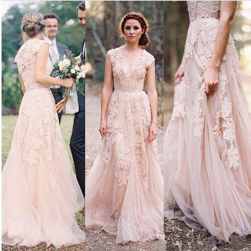 Boho Wedding Dress   Bohemian Wedding Dress   Lace Wedding Dress