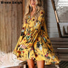 Yellow Flower Print Boho Dress - Hippie BLiss