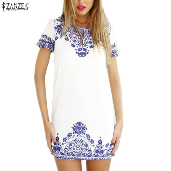 Bohemian Blue Pasley T Shirt Dress Boho Chic White Dress Beach Dress - Hippie BLiss