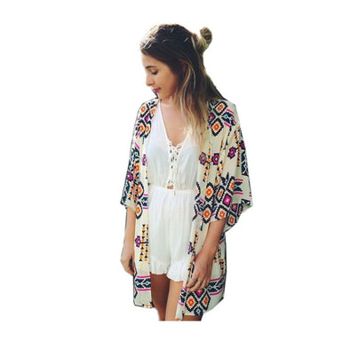 Women Chiffon Boho Kimono Cardigan Long Loose Short Sleeve Tops Blouse