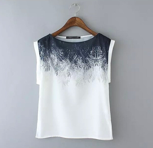 Women Chiffon Black and White Feather top Blouse sleeveless shirts casual loose summer tops