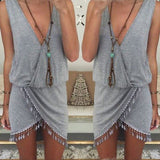 Women Summer Boho Beach Sleeveless Aysmmetrical Tassel Party Dress Vestidos