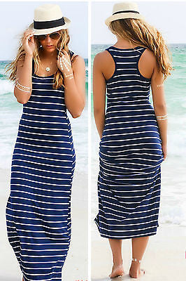 Summer Maxi Dress Stripped Blue and White