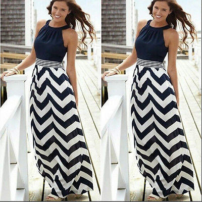 Boho Chic Maxi Dress Bohemian Style Hippie Black And White Striped
