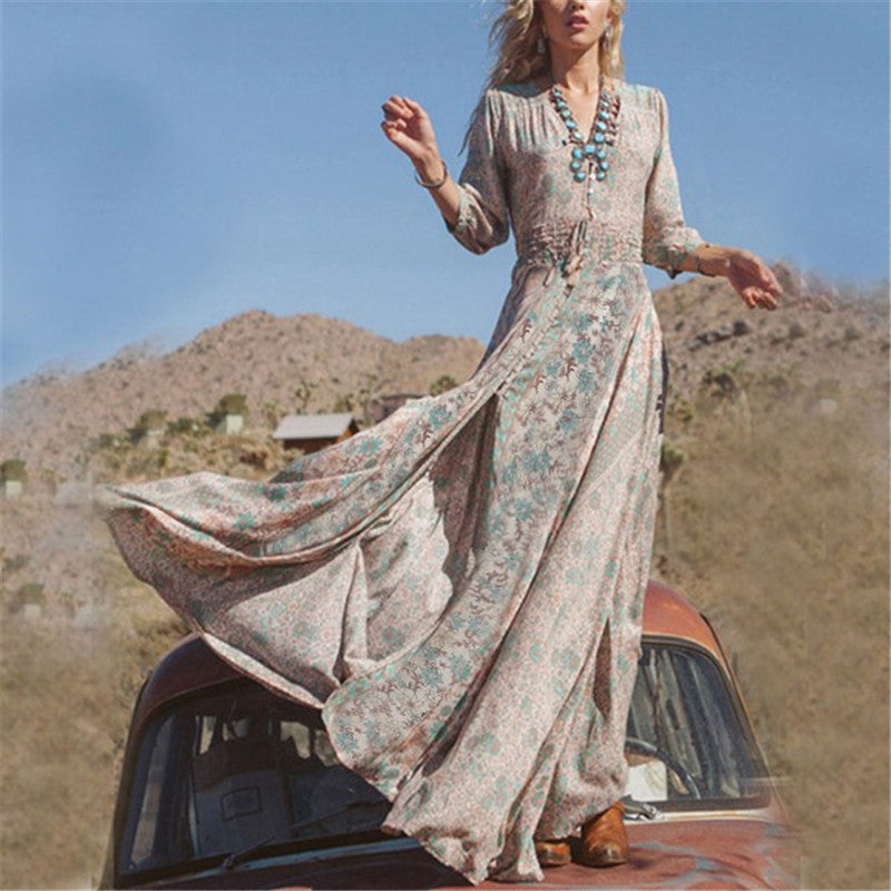 Boho Fashion Summer Long Dress Boho Beach Party V-Neck Vintage Floral Prin - Hippie BLiss