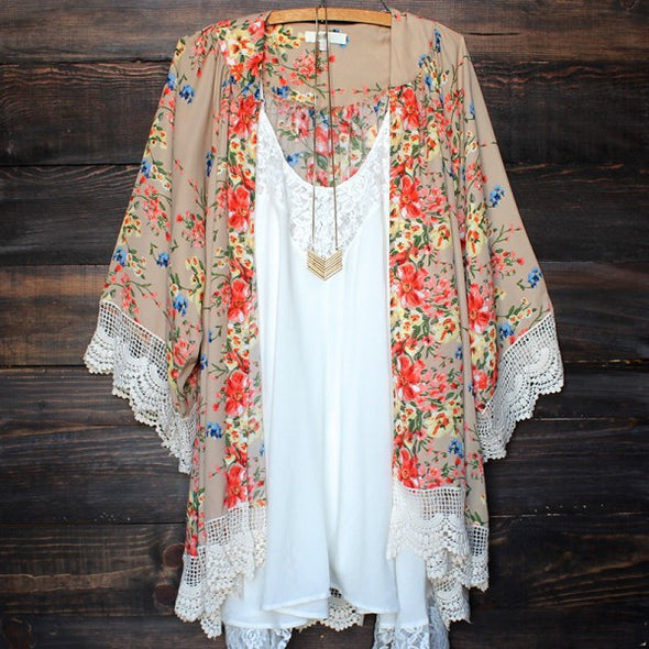 Women Vintage Floral Loose Shawl Kimono Cardigan Boho Chiffon Coat Jacket Blouse - Hippie BLiss