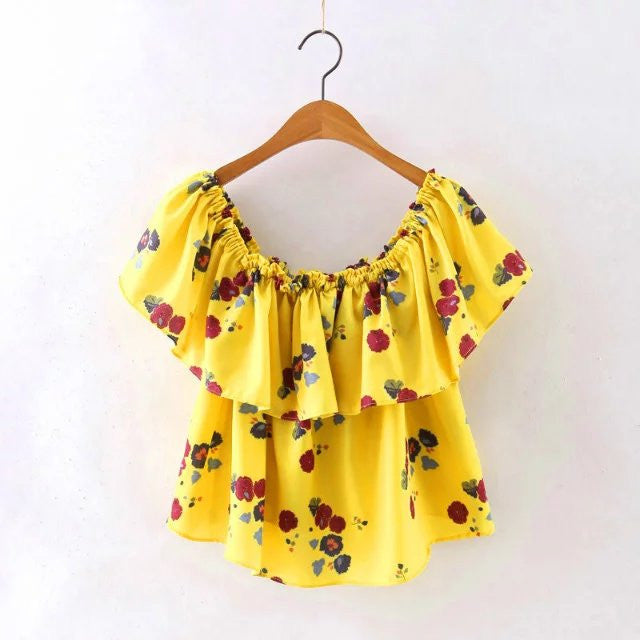 b26a6d4c458 Yellow Floral Print Blouse Off Shoulder Slash Neck Casual Ruffle Shirt – 🌸 BOHO  JOY 🌸