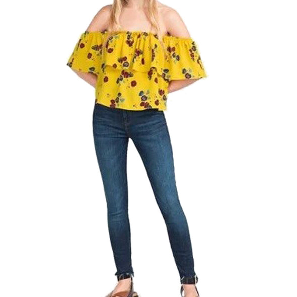 Yellow Floral Print Blouse Off Shoulder Slash Neck Casual Ruffle Shirts Tops