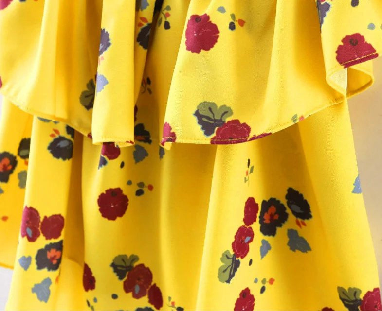 06b97d0970f Show Gallery. Yellow Floral Print Blouse Off Shoulder Slash Neck Casual  Ruffle Shirts Tops