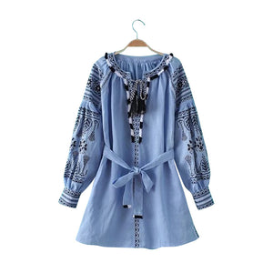 Vintage Mini Dress Floral Embroidery V-Neck Bow Tassel Blue Long Sleeve
