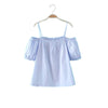 Blue Blouse Off Shoulder Short Sleeve Slash Neck - Hippie BLiss