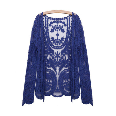 Casual Loose Blouse Embroidery Flower Crochet Cardigan - Hippie BLiss