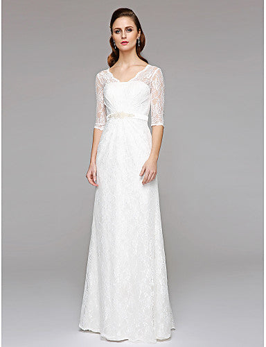 A Line 3/4 Sleeves Bohemian Wedding Dress - Boho Wedding Dress Lace Sleeves - Hippie BLiss
