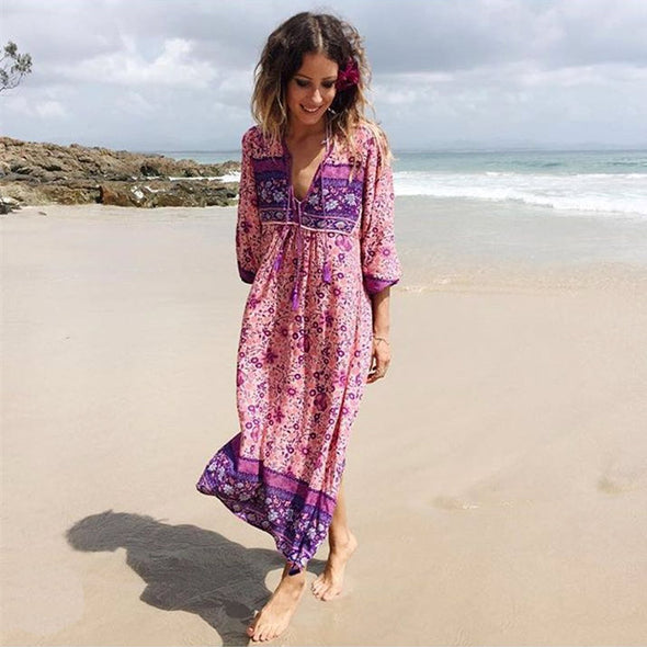 Boho Chic Floral Maxi Dress - Hippie BLiss