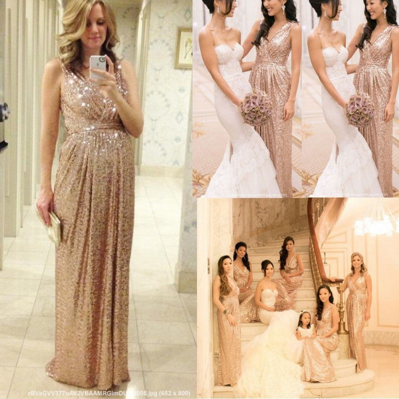 Sequins Bridesmaid Dresses Rose Gold/Champagne Floor Length Maid Of Honor Custom Made Maternity Dress