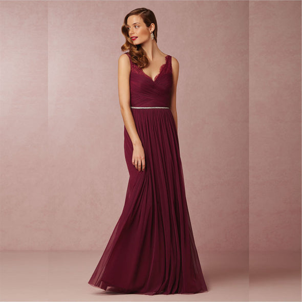 V Neck Beaded Sexy Wine Red Bridesmaid Dress Floor Length Custom Made Maid of Honor Dresses - Hippie BLiss