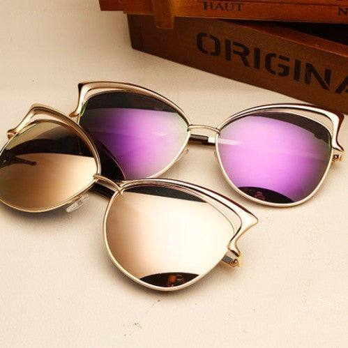 Retro vintage cat eye sunglasses Reflective female