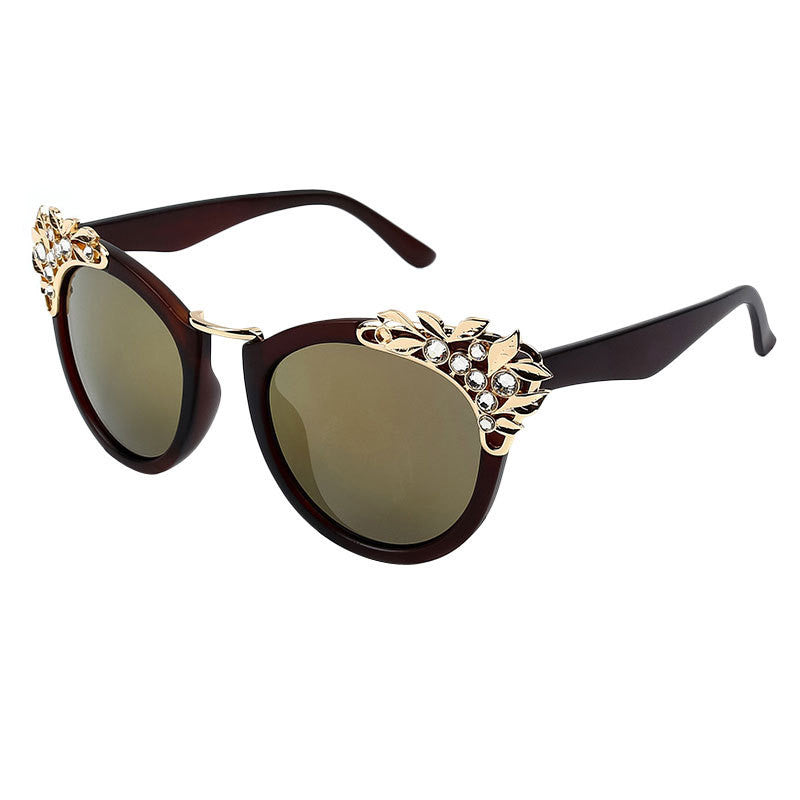 Jewelry Flower Rhinestone Decoration Sunglasses Vintage Shades Eyewear - Hippie BLiss