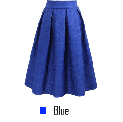 Plus Size Midi Skirts Spring Casual Pleated Knee-length Ball Gown Skater