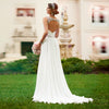 V NECKLINE OPEN BACK WEDDING DRESS CRYSTAL BEADED WHITE CHIFFON WEDDING DRESS - Hippie BLiss