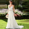 V NECKLINE OPEN BACK WEDDING DRESS CRYSTAL BEADED WHITE CHIFFON WEDDING DRESS