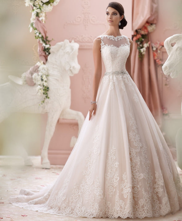Wedding Dresses Modest A-line Sheer Sweetheart Applique Lace Beaded Belt Backless Wedding Dress