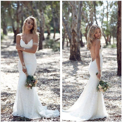 BOHEMIAN MERMAID LACE WEDDING DRESS SPAGUETTI STRAPS OPEN BACK WEDDING DRESS BOHEMIAN WEDDING DRESS - Hippie BLiss