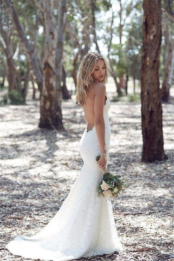 Open Back Lace Form-Fitting Wedding Dresses