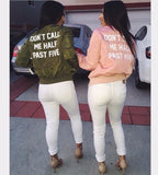 Women Don't Call Me Half Past Five Bomber Jacket - Color Baby Pink and Olive Green Bestie Matching Bomber Jacket