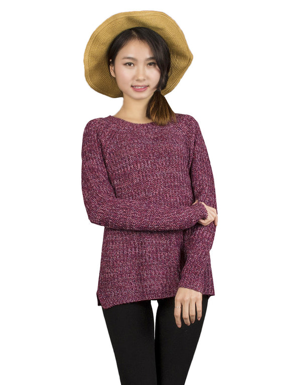 Mixed Color Wool Plus Size Oversized Loose Knitted Pullover Jumper Sweater O-Neck - Hippie BLiss