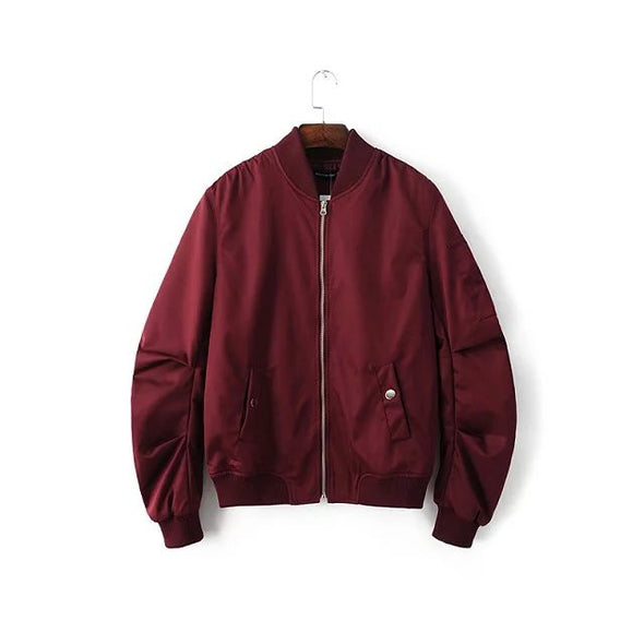 Women Burgundy Bomber Jacket - Black, Olive Green, Navy Blue