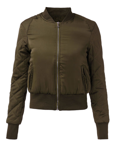 Women Zip Up Quilted Coat Bomber Jacket Padded Bomber Outerwear