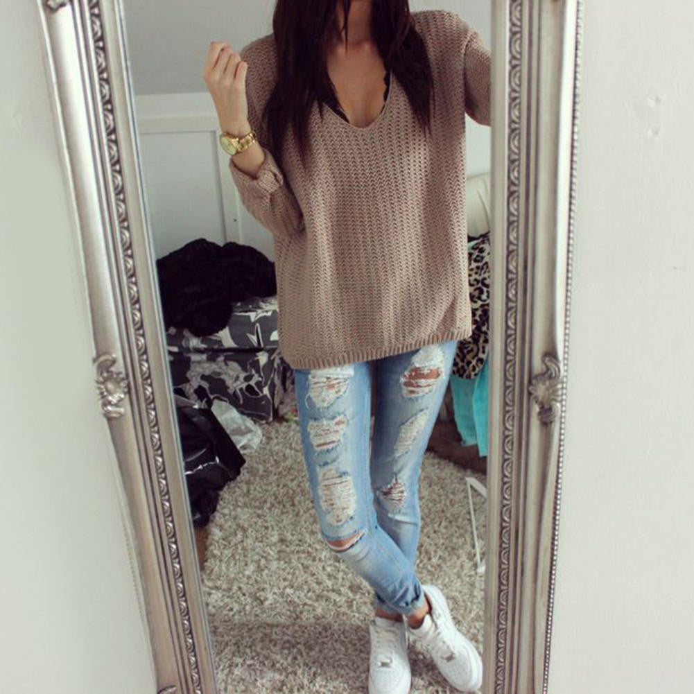 V-neck Casual Oversize Sweater Weather