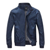 Men Bomber Jacket Men Outerwear Front Zip Pilot Jacket - Dark Blue - Hippie BLiss