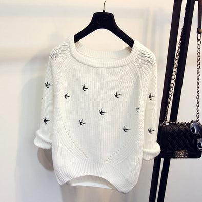 Bird White Sweater - Hippie BLiss