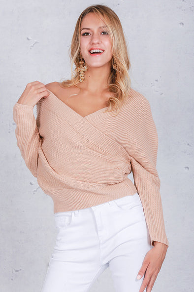 V neck sweater Oversize Wrap Sweater Baby Pink