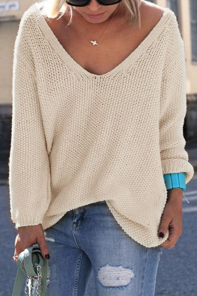 V Neck Loose Casual Knit Sweater Pullover Long Sleeve Spring Sweater - Hippie BLiss