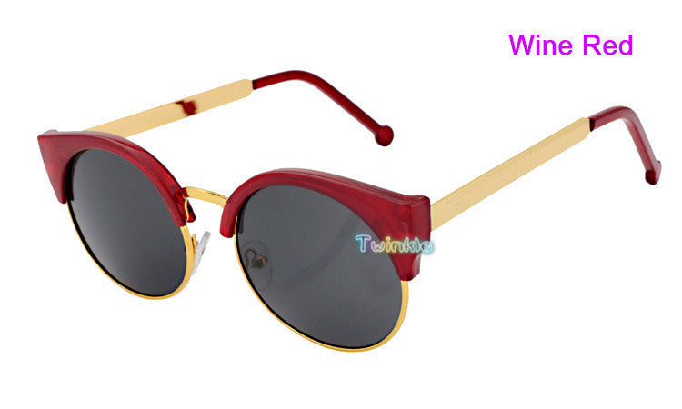 Retro Super Round Circle Semi-Rimless Sunglasses