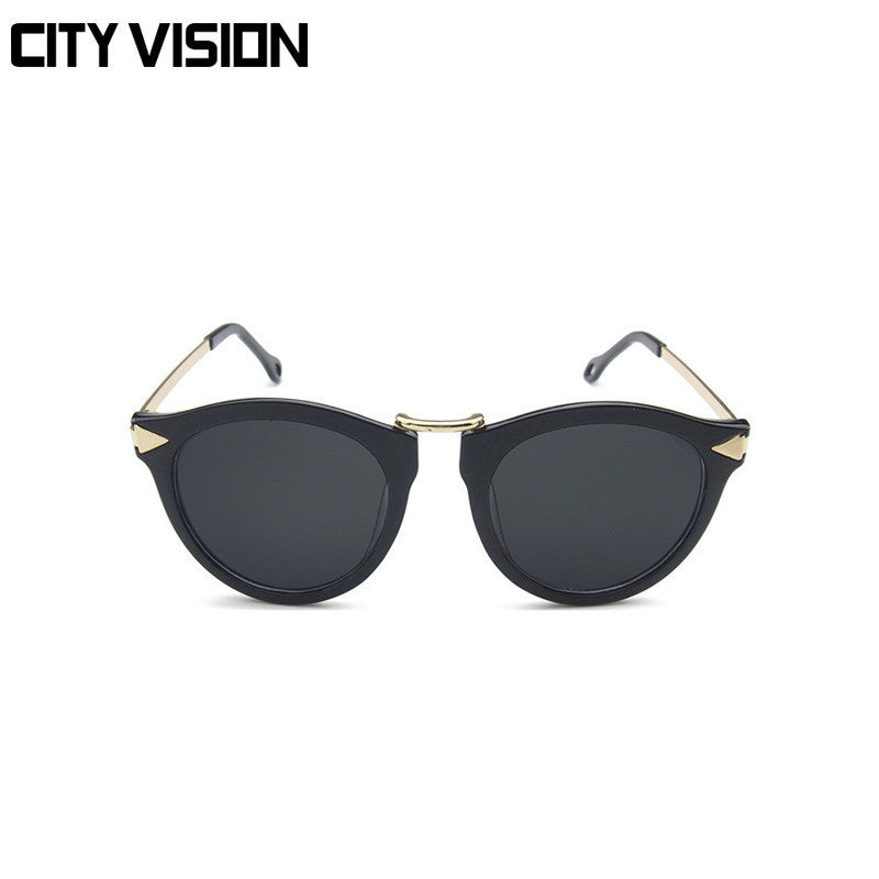 Women Black Floral Aviator - Cat Eye Sunglasses With Gold Details