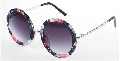 Black Floral Oval Round Sunglasses - Hippie BLiss