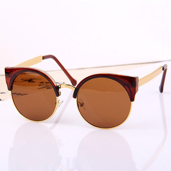 Retro Designer Women Round Circle Glasses Cat Eye