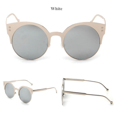 Rose Gold Fashion Brand Cat Eye Half Frame Sunglasses