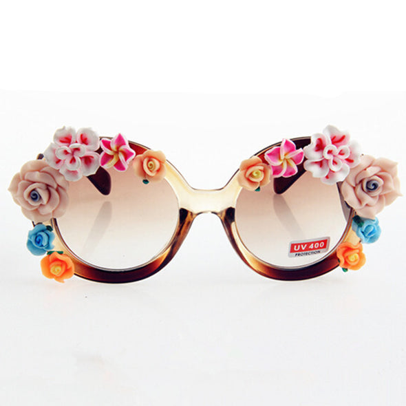 Vintage Round Sunglasses Women Rose Designer