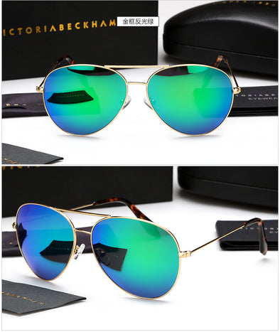 Unisex Reflective Large Metal Sunglasses