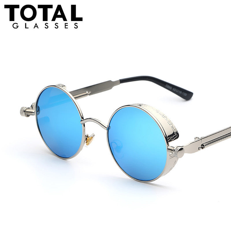 Round Metal Thick Flex Sunglasses