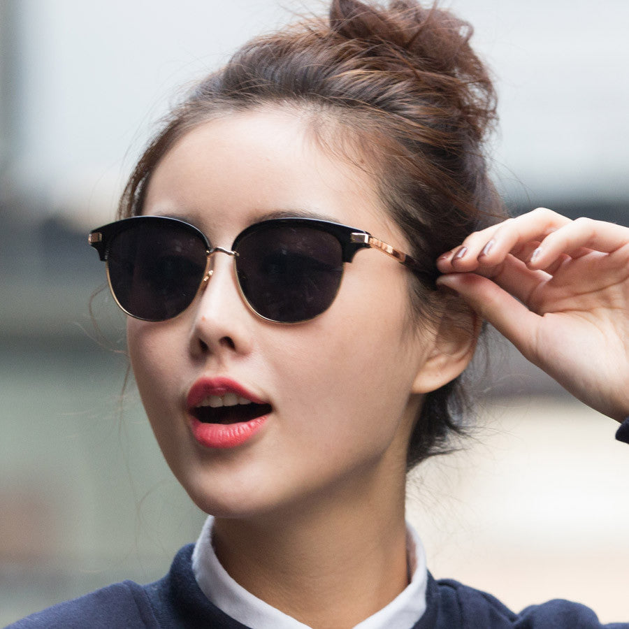 Rose Gold Half Frame Coating Sunglasses Unisex