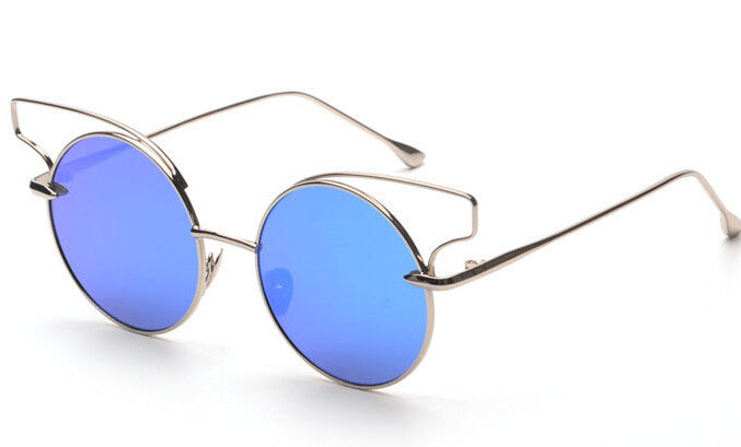 Round gold metal gold mirror sun glasses