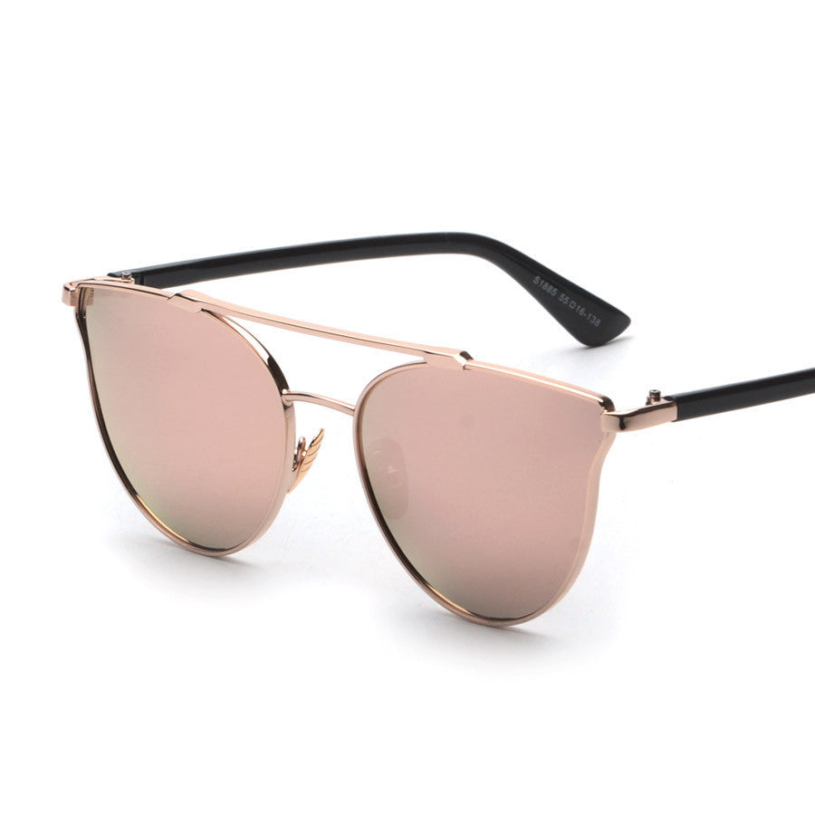 Rose Gold Mirror Sunglasses With Black Frame Boohoopearl