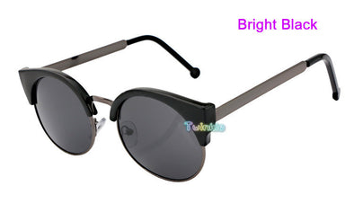 Retro Super Round Circle Semi-Rimless Sunglasses - Hippie BLiss