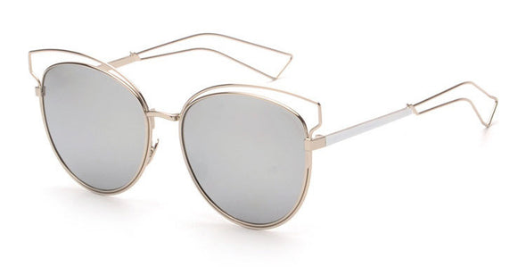 Women Cat Eye Glasses Hollow Out Alloy Frame